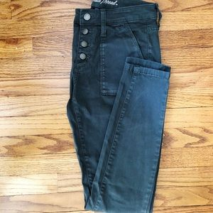 High rise olive jeans
